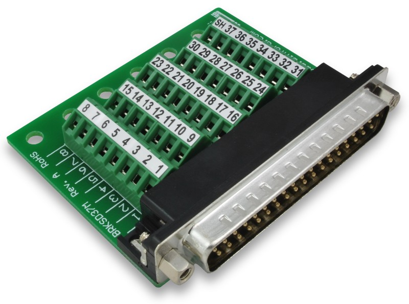 Db37 Slim Breakout Board With Screw Terminals